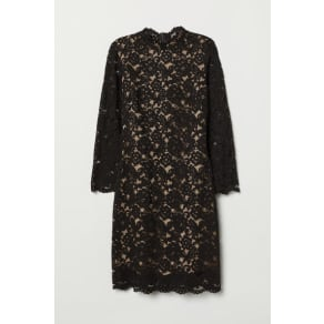 H & M - Long-sleeved lace dress - Black