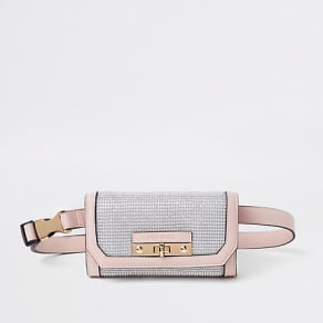 Womens Light Pink buckle belt bum bag