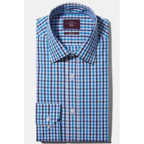 Moss Esq. Regular Fit Blue Single Cuff Check Shirt