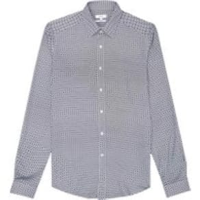 Reiss Napoli - Slim Fit Micro Printed Shirt in White/blue, Mens, Size M