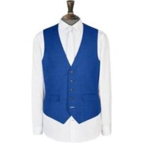 Mens 1904 Grant Cobalt Blue Check Waistcoat*, Blue