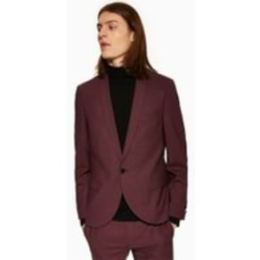 Mens Red Twisted Tailor Burgundy Slim Fit 'Ellroy' Single Breasted Blazer With Shawl Lapel, Red