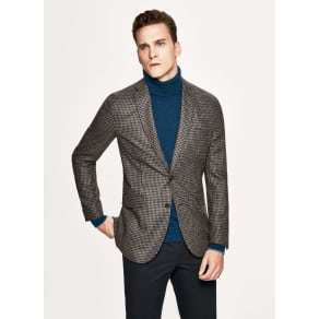 Houndstooth wool and silk blazer