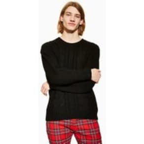 Mens Black Cable Knitted Jumper, Black