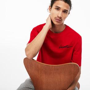 Men´s Lacoste LIVE Crew Neck Lacoste Signature Jersey T-shirt Size 4 - M Red / Black