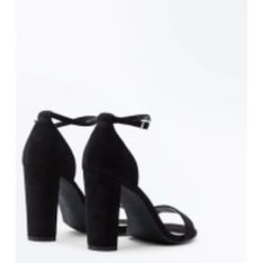 Wide Fit Black Suedette Ankle Strap Block Heels New Look