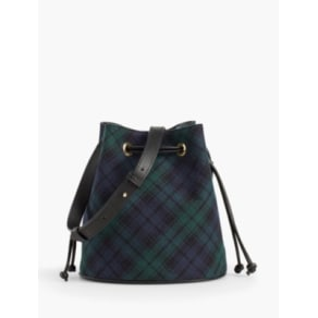 Talbots: Drawstring Bucket Bag: Black Watch Plaid