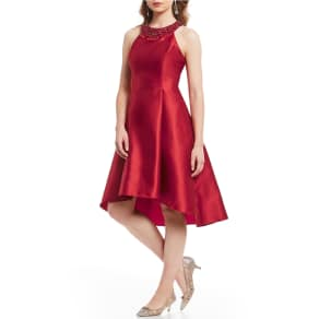 Adrianna Papell Petite Mikado Fit and Flare High Low Party Dress