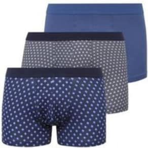 3 Pack Blue Star and Geometric Trunks New Look