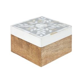 Flower Mother of Pearl & Wood Small Box