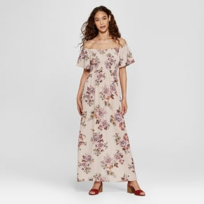 f81e4ea292 Women's Smocked Top Off the Shoulder Floral Maxi Dress - Xhilaration  Blush