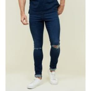 Indigo Ripped Knee Skinny Stretch Jeans New Look