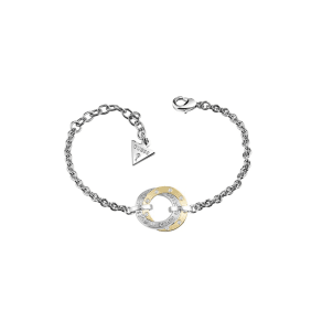 Guess - Gold And Rhodium Plated Guess Bracelet With Open Circle Pendant