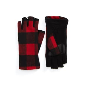Women's Echo Plaid Fingerless Gloves, Size Small - Red
