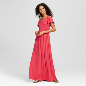Women  039 s Cold Shoulder Maxi Dress Coral XL - Vanity Room e64d34d0d
