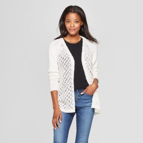 Women's Long Sleeve Lace-Up Back Sweater Cardigan - Xhilaration Ivory Xxl
