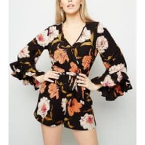 Black Floral Ruffle Sleeve Wrap Playsuit New Look