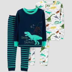 Baby Boys' 4pc Dino Pajama Set - Just One You made by carter's Teal 9M, Blue