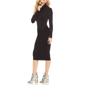 Sanctuary Essential Rib Knit Turtleneck Midi Dress