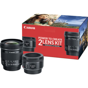 Canon - EF 50mm f/1.8 STM Standard Lens and EF-S 10-18mm F4.5-5.6 IS STM Ultra-Wide Zoom Lens Kit - black