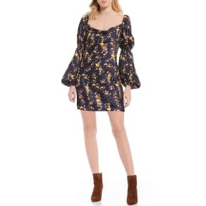 C/MEO All Right Now Balloon Sleeve Floral Print Dress