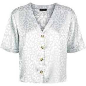 Silver Leopard Jacquard Satin Boxy Shirt New Look