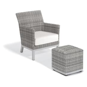 2pc Argento Club Chair and Pouf with Powder-Coated Aluminum Frame and Resin Wicker Eggshell White - Oxford Garden