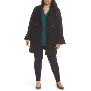 Plus Size Women's Halogen Raw Edge Bell Sleeve Coat, Size 1X - Black