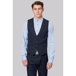 Moss London Slim Fit Indigo Donegal Waistcoat