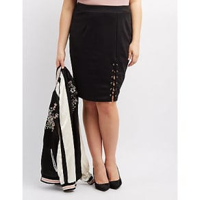 Plus Size Lace-Up Pencil Skirt