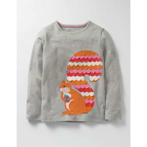 Big Appliqué T-shirt Grey Girls Boden