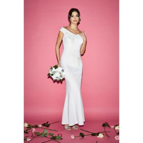 Quiz Gracie White Bardot Embroidered Trim Fishtail Bridal Dress