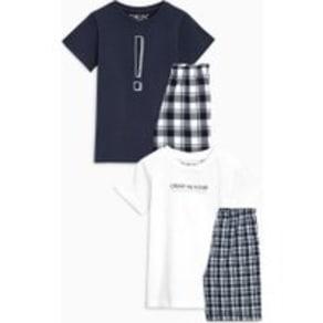 Boys Next Monochrome Check Woven Pyjamas Two Pack (5-16yrs) -  Black