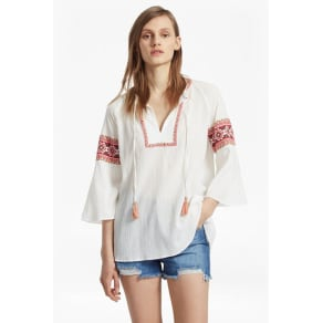 Adanna Crinkle Embroidered Smock Top - Summer White Multi