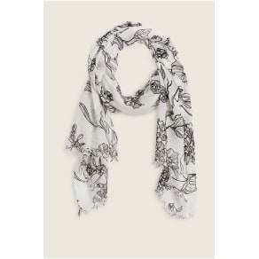 True Religion White Black Floral Scarf - Jet Black