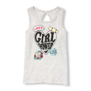 Girls  Matchables Sleeveless Cutout Back Graphic Tank Top - Gray