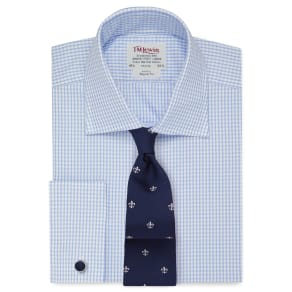 """Regular Fit Blue Check Twill Shirt"""