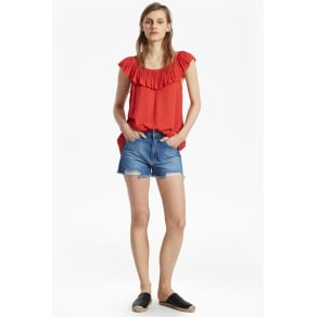 Afia Crinkle Ruffled Top - Margo Red