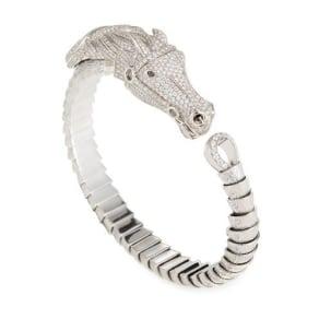 18k Diamond Pave Horse Bangle Bracelet