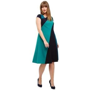 Studio 8 Sizes 12-26 Blue and Green Michelle Colour Block Dress