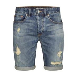 Mens Blue Mid Wash Stretch Skinny Ripped Denim Shorts, Blue