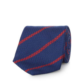 Osborne Navy and Red Pure Silk Striped Tie