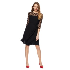The Collection Black 3/4 Sleeve Knee Length Dress