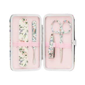 The Vintage Cosmetic Company 'Pink Floral Satin' Manicure Purse