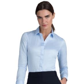 """Fitted Blue Stretch Cotton Button Cuff Shirt"""