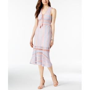 Foxiedox Lace-Up Crochet Midi Dress
