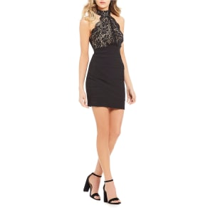 Midnight Doll Lace Bodice Sheath Dress