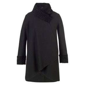Chesca Astrakhan Collar Coat, Black