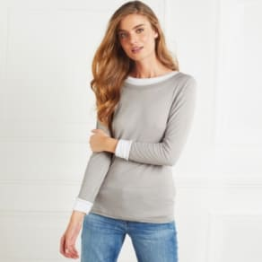 Double Layer Crew Neck T-Shirt With Wool