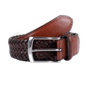 Dents Mens Plaited Leather Belt, Brown
